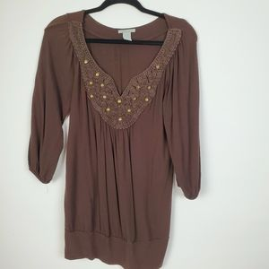 CHARLOTTE RUSSE WOMEN TOP SHIRT TRENDY PEASANT